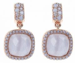 Bronzallure Refined Visions Rose Gold/Blue Lace Agate + Blue Opal