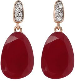 Bronzallure Preziosa Earrings with Natural Stone Rose Gold/Plum Agate + White Cz