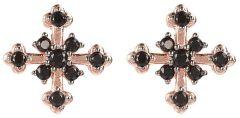 Bronzallure Cross CZ Earring Rose Gold/Black Spinel
