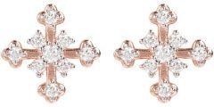 Bronzallure Cross CZ Earring Rose Gold/White Cz