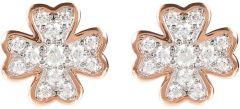 Bronzallure Cloverleaf CZ Earrings Rose Gold/White Cz