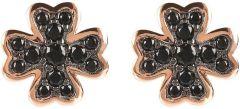 Bronzallure Cloverleaf CZ Earrings Rose Gold/Black Spinel