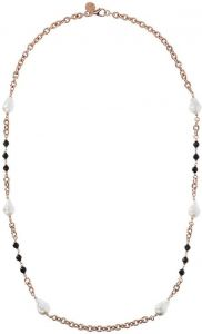Bronzallure Black Spinel And Baroque Pearls Necklace