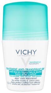 Vichy 48h Roll-on Deodorant (50mL) Sensitive skin, No white marks