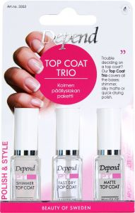 Depend PT Top Coat Trio - Shimmer, Silky Matte & Supershine