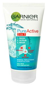 Garnier Skin Naturals Pure Active 3 in 1 Scrub (150mL) Oily To Combination Skin Prone To Imperfections