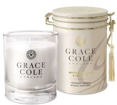 Grace Cole Luxury Scented Candle In Decorative Tin Nectarine Blossom & Grapefruit (200g)