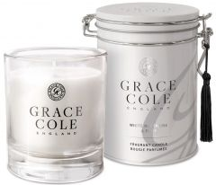 Grace Cole Luxury Scented Candle In Decorative Tin White Nectarine & Pear (200g)