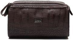 JJDK Cosmetic Bag Aksel Dark Brown Croco PU (22x11x14) 61239