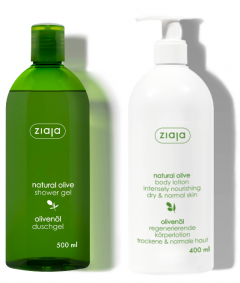 Ziaja Natural Olive Shower Gel (500mL) + Body Lotion (400mL)