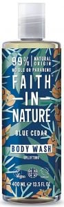 Faith in Nature Uplifting Shower Gel/Foam Bath Men Blue Cedar (400mL)