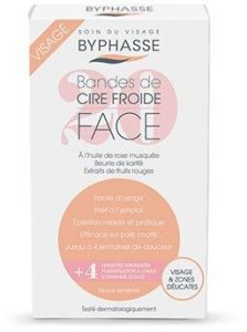 Byphasse Cold Wax Strips Face & Delicate Areas for Sensitive Skin (20 Strips + 4 Wipes)