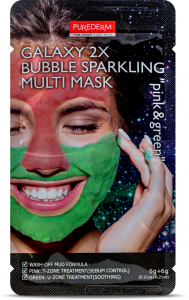 Purederm Galaxy 2X Bubble Sparkling Multi Mask Pink &Green