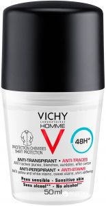 Vichy Homme 48h Anti-Stains Roll-on Deodorant (50mL)