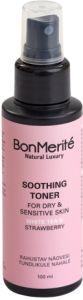 BonMerité Rahustav Näovesi Tundlikule Nahale Orgaaniline Valge Tee & Maasikas (100mL)