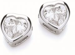 Buckley London Rhd Plt Simple Heart Earrings CZE995