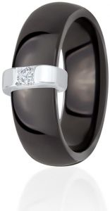 Dondella Black Ceramic And 925 Silver Ring Size 18.5 CJT3-1-R-58