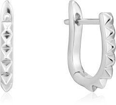 Ania Haie Silver Spike Huggie Hoop Earrings