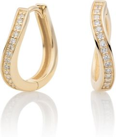 Sparkling Jewels Earrings Flare Crystal Gold Huggies