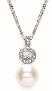 Buckley London Rhodium Round Millgrain Pearl Pendant GN1053