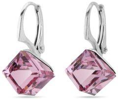 Spark Silver Jewelry Earrings Cube Light Rose