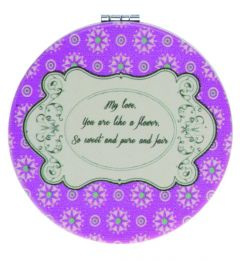 Casuelle Violet Round Compact Mirror, Petite Fleur Style, Normal+2X Magnifying