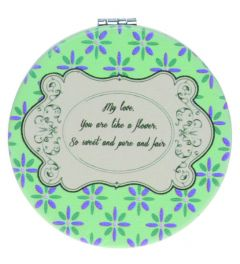 Casuelle Green Round compact mirror, Petite Fleur Style, Normal+2X Magnifying