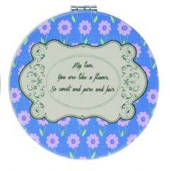 Casuelle Blue Round Compact Mirror, Petite Fleur Style, Normal+2X Magnifying