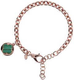 Bronzallure Four Leaf Clover Charm Chain Bracelet Green Malchite