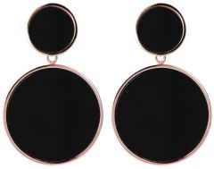 Bronzallure Two Discs Dangle Earrings Black Onyx