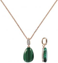 Bronzallure Collier Necklace with Drop Stone and Pave Pendant Malachite