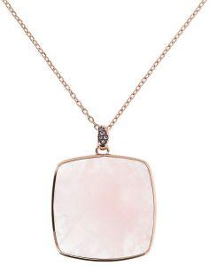 Bronzallure Large Square Stone Pendant Necklace with CZ Detail Rose QTZ